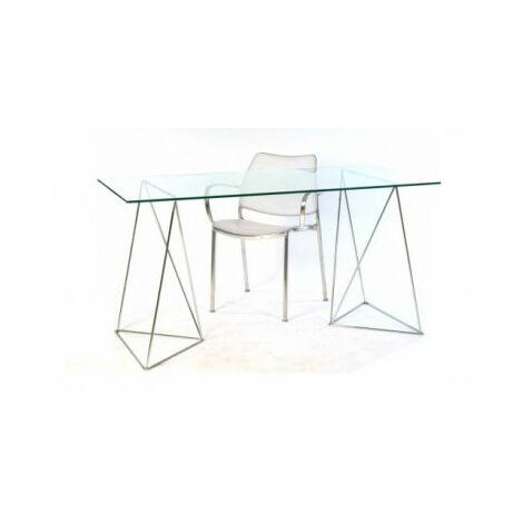Mesa de mesas de estudio para ordenador de base caballetes metálicos Tangente kme887001-DESKandSIT-140x70cm 140x70cm ALUMINIO color