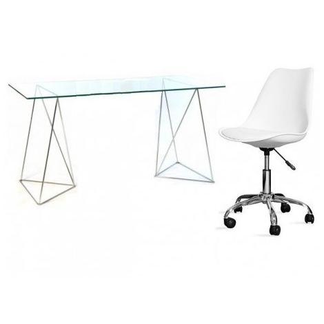 Mesa de mesas de estudio para ordenador de base caballetes metálicos Tangente kme887001-DESKandSIT-140x70cm 140x70cm cromado
