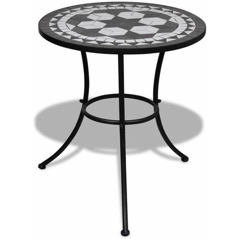 Mesa de mosaico 60 cm negro/blanco