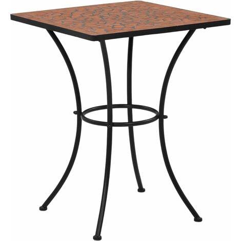 Mesa de mosaico para cafetería cerámica terracota 60 cm - Marrón