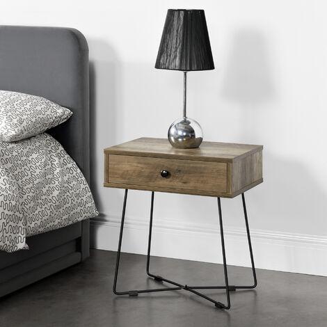 Mesa de noche con cajón - 50,5 x 45 x 29,5 cm - Mesa Auxiliar - Consola - Cuadrado - Mesita de salón - Mesa de café y té - Mesa de teléfono - Apariencia de madera y Negro