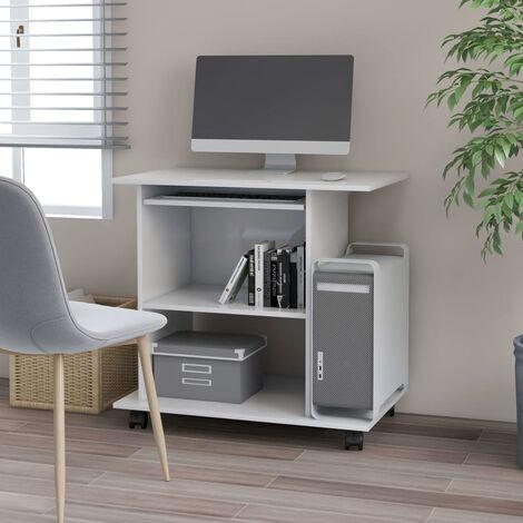 Mesa de ordenador aglomerado blanco brillante 80x50x75 cm - Blanco