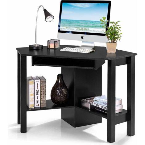 Mesa de Ordenador Escritorio Esquinera TV Mueble para Hogar Oficina Estudio Negro