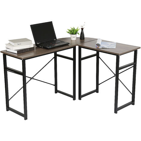 Mesa de Ordenador PC Escritorio para Oficina Hogar Tipo Mesa Esquinera Forma L Marco Acero 123-103x40x72.5cm Roble vintage