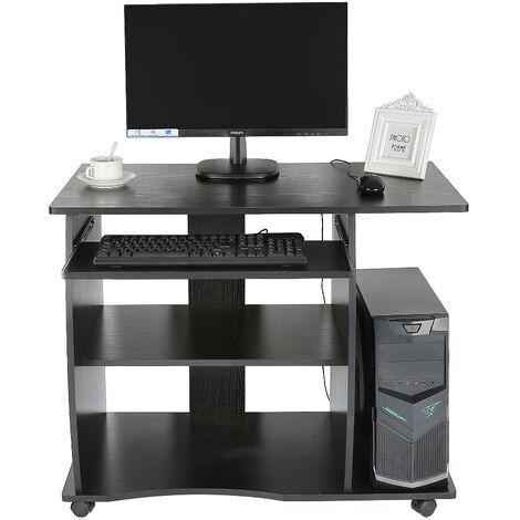 Mesa de Ordenador PC Oficina Despacho Dormitorio con Cajón | MDF 90 * 50 * 75cm Negro