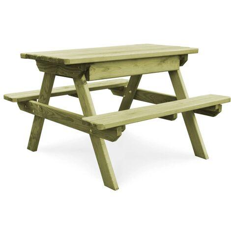 Mesa de picnic con bancos madera pino impregnada FSC 90x90x58cm