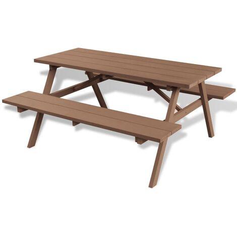 Mesa de picnic con bancos WPC marrón 150x139x72,5 cm