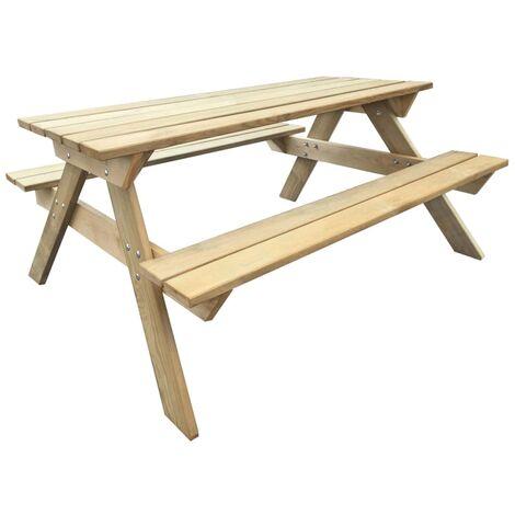 Mesa de picnic fija de madera