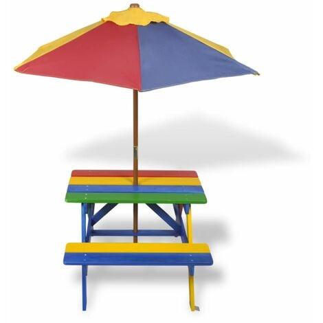mesa pícnic madera infantil con sombrilla