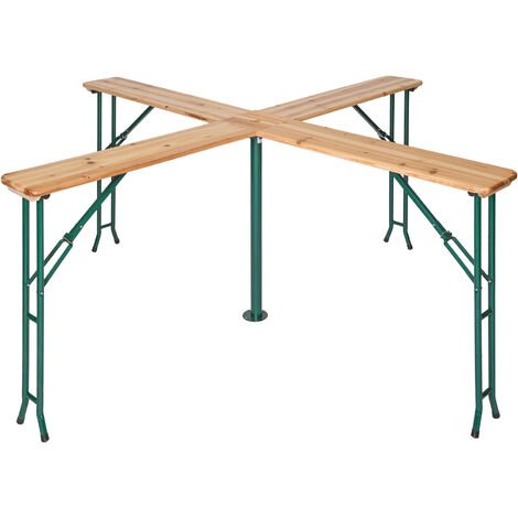 Mesa de pie Quattro 241 x 241 x 103 cm - mesa plegable de camping, mesa de jardín, mesa exterior para eventos en exterior - marrón