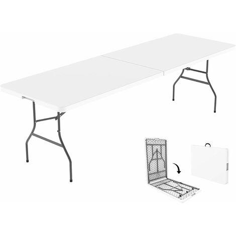 Mesa de Plástico Resistente, Mesa Plegable Portátil, 240 x 75.5 cm, Blanco, Plegable por la mitad, Material: HDPE