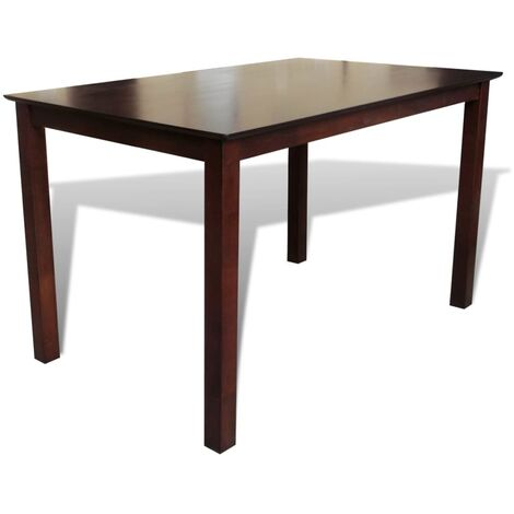 Mesa de salón comedor rectangular madera maciza marrón 110 cm