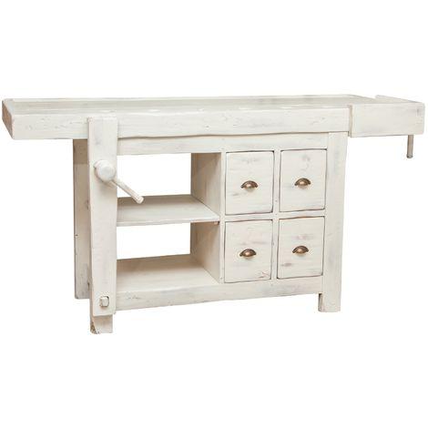 Mesa de taller realizada artesanalmente de madera maciza de tilo equipada con garras funcionantes L184xPR74xH92 cm