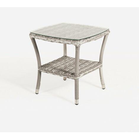 Mesa de terraza auxiliar | Tamaño: 50x50x55 cm | Aluminio y ratán sintético plano color gris | Cristal templado de 5 mm | Portes gratis - Gris-plano