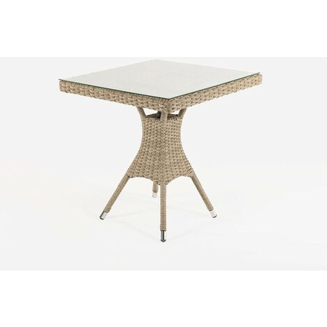 Mesa de terraza cuadrada | Tamaño: 70x70x72 cm | Aluminio y ratán sintético plano