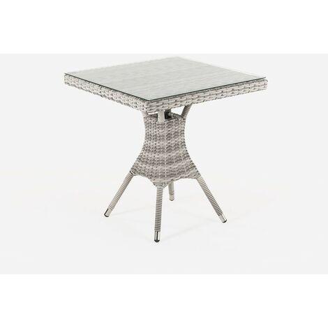 Mesa de terraza cuadrada | Tamaño: 70x70x72 cm | Aluminio y ratán sintético plano color natural | Cristal templado de 5 mm | Portes gratis - Gris-plano