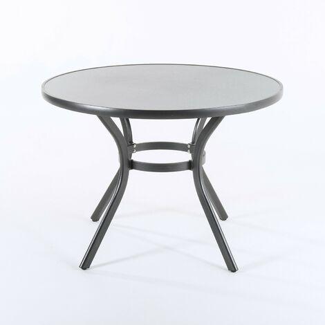Mesa de terraza redonda, Tamaño: 105x72 cm, Aluminio y cristal templado con acabado cerámico
