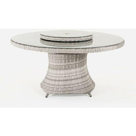 Mesa de terraza redonda | Tamaño: 150x75 cm | Aluminio y ratán sintético plano