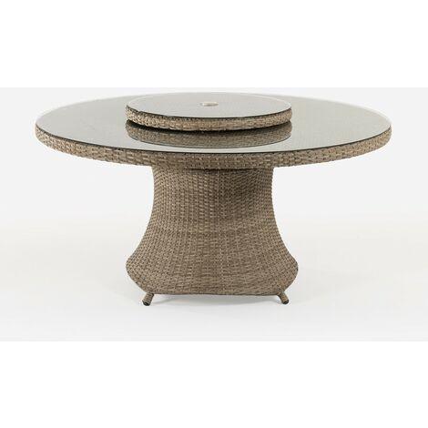 Mesa de terraza redonda | Tamaño: 150x75 cm | Aluminio y ratán sintético plano color natural | Cristal templado de 5 mm | Portes gratis - Natural-plano