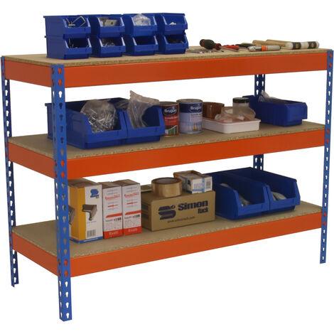 MESA DE TRABAJO BASIC 3 901890-3 AZUL/NARANJA/MADERA 900x1800x900mm