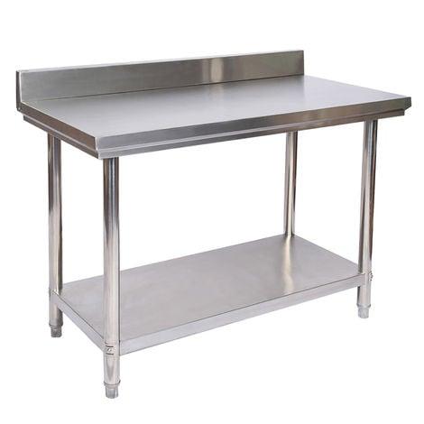 Mesa de trabajo con alzatina de Acero Inoxidable para Cocina 120x60x85 cm
