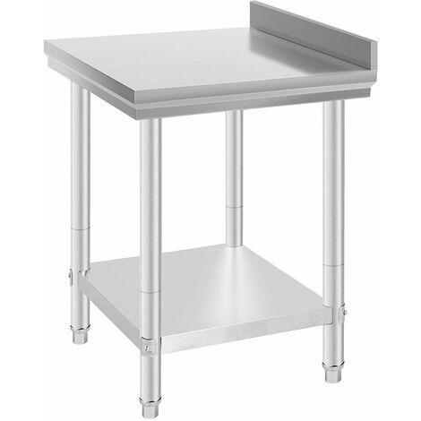 Mesa de Trabajo de Acero Inoxidable con Antisalpique - Pies ajustables|Acero inoxidable | 61*61*90cm