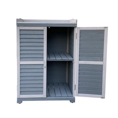 Mesa de trabajo para jardinería, armario inferior y meseta con cantos elevados, gris