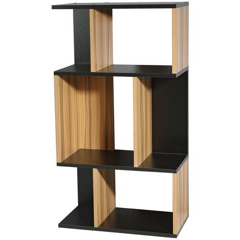 Mesa de TV Estante de pared Estante de suelo Estante de TV Tablero de madera Negro Marrón Compartimentos de almacenaje Oficina