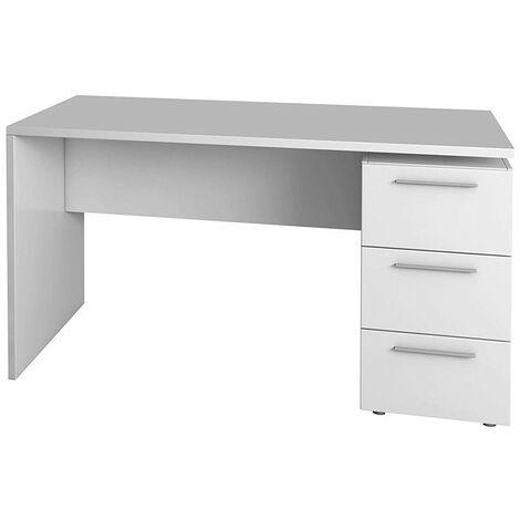 Mesa despacho 3 cajones mesa escritorio ordenador color blanco artik 74x138x60 cm