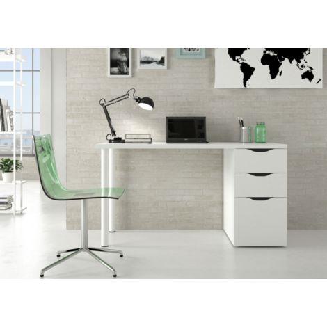 Mesa despacho reversible 138x60 cm Blanco mate con buc de 2 cajones y una puerta   Blanco