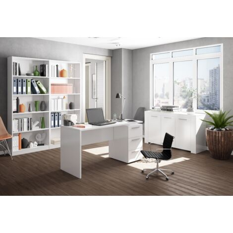 Mesa despacho reversible 138x60 cm Blanco mate con buc de 3 cajones   Blanco