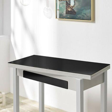 Mesa desplegable cocina cristal negro con cajón Andrea | Dimensiones : 90 x 45 cm