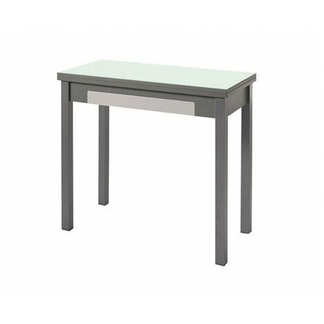 Mesa desplegable de cocina cristal blanco óptico, con cajón Andrea | Dimensiones : 90 x 45 cm