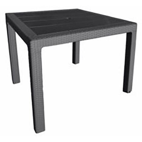 Mesa elegante Ratán 80x80 x 72 cm. de tecnopolímero + fibra de vidrio.