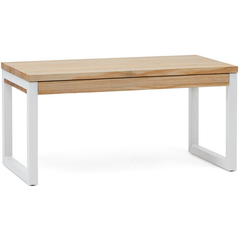"main image of ""Mesa Elevable iCub Strong ECO 120x50x52cm Blanca en madera maciza acabado natural estilo nórdico industrial Box Furniture - 50X120X52 cm - Natural - Blanco - 30 mm"""