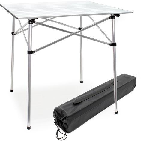 Mesa enrollable de aluminio para camping Tablero 70x69cm Bolsa de transporte Outdoor Picnic Acampada