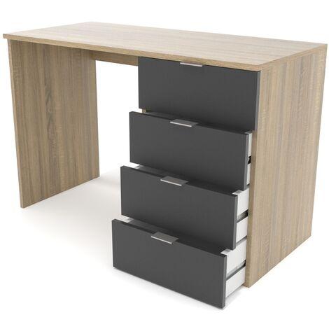 Mesa escritorio 4 cajones - Roble/Antracita