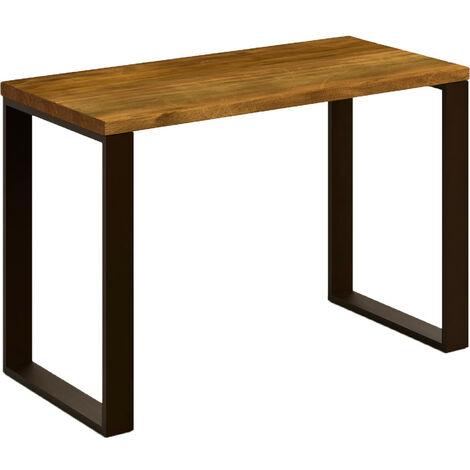 Mesa escritorio de madera maciza natural y patas de acero. Estilo industrial.