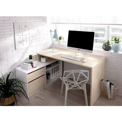 """main image of """"Mesa escritorio en L modelo ROX 03K3228632 en color natural con blanco brillo"""""""