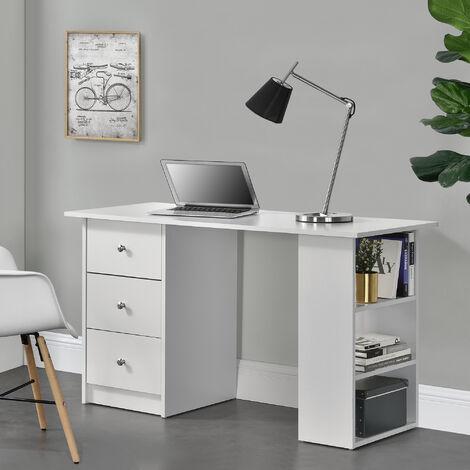 Mesa Escritorio - Escritorio de ordenador - 120 x 49 x 72 cm - 3 compartimientos y 3 cajones - Mesa de oficina - Blanco -