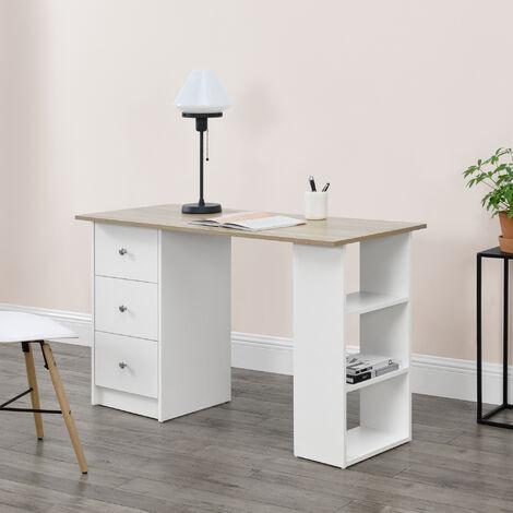 Mesa Escritorio - Escritorio de ordenador - 120 x 49 x 72 cm - 3 Compartimientos y 3 Cajones - Mesa de oficina - Blanco - Tablero de mesa de color roble