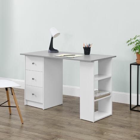 Mesa Escritorio - Escritorio de ordenador - 120 x 49 x 72 cm - 3 Compartimientos y 3 Cajones - Mesa de oficina - Blanco - Tablero de mesa Gris claro