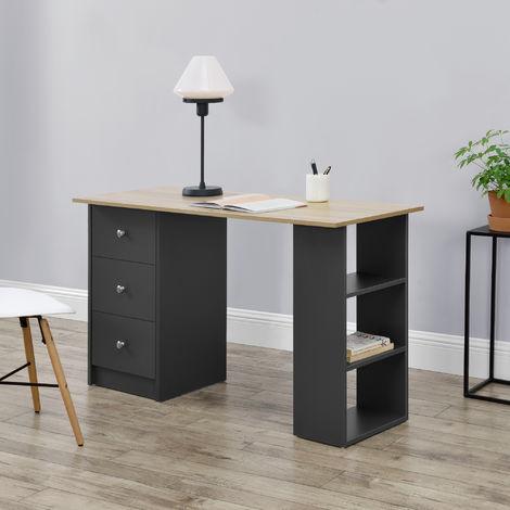 Mesa Escritorio - Escritorio de ordenador - 120 x 49 x 72 cm - 3 Compartimientos y 3 Cajones - Mesa de oficina - Gris oscuro - Tablero de mesa apariencia de madera