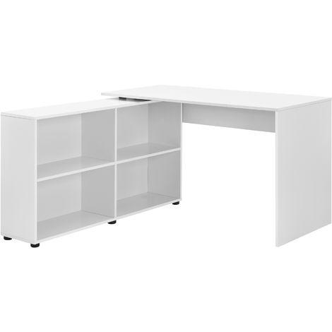 Mesa Escritorio - Escritorio de ordenador - 130 x 60 x 75 cm - 4 compartimientos - Mesa de oficina - Mesa de la esquina - Blanco
