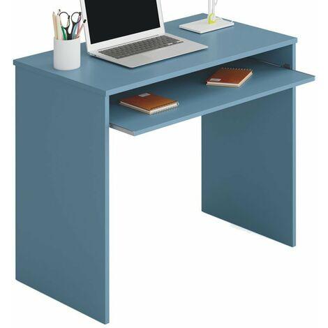 Mesa escritorio juvenil color azul con bandeja extraíble 90x54x79 cm