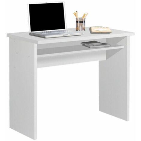 Mesa Escritorio, Mesa Estudio Con Bandeja Color Blanco. Medidas: 90 X 74 X 50 Fondo