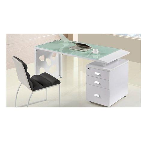 Mesa escritorio oficina, cajonera a derecha, cristal, 140x70 cms