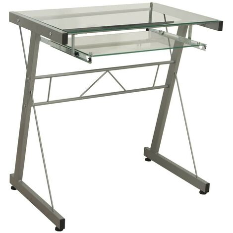Mesa escritorio ordenador metal y cristal