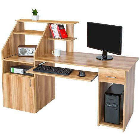 Mesa escritorio para ordenador 164,5cm - mesa de madera con armario y cajón, mesa de estudio moderna para oficina, escritorio con estantes y bandeja