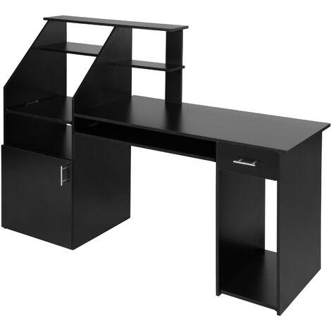 Mesa escritorio para ordenador 164,5cm - mesa de madera con armario y cajón, mesa de estudio moderna para oficina, escritorio con estantes y bandeja - haya